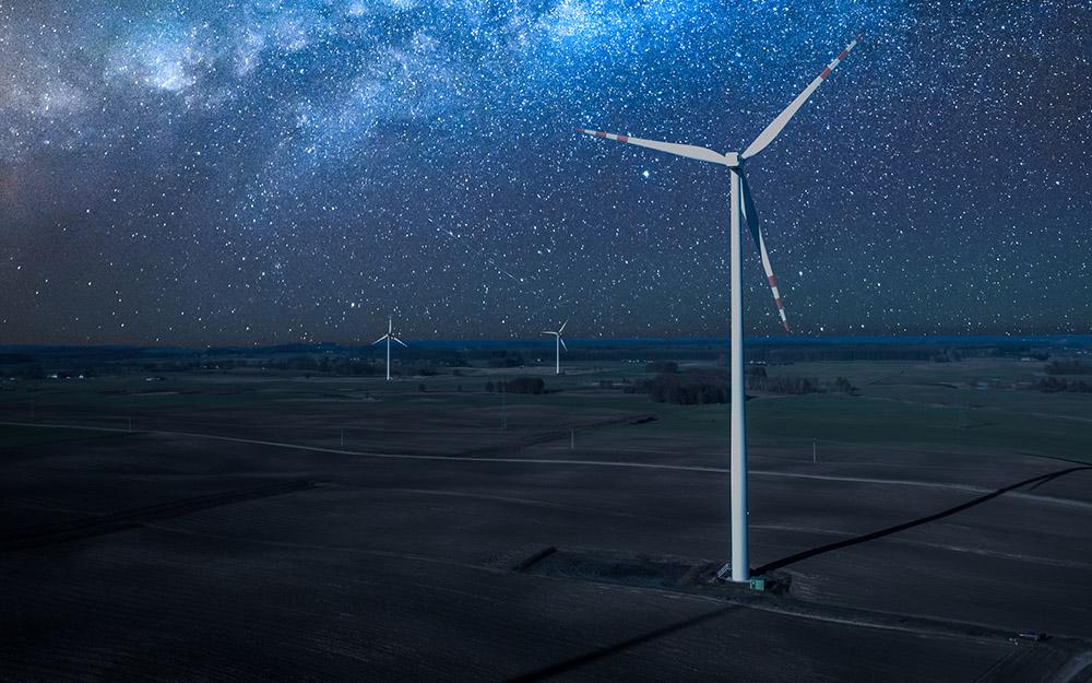 Nacht WEA Befeuerung Sterne Windenergieanlage Feld Himmel Dunkelheit Mondlicht